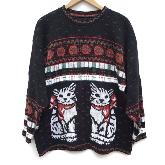Vintage Sweaters - Vintage Christmas Cat Kitten Sparkle Sweater